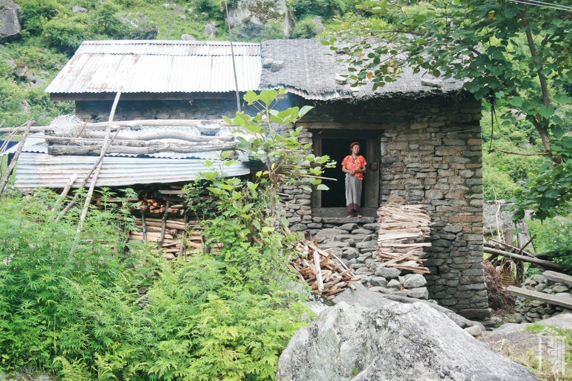Ein Dorfgebäude
