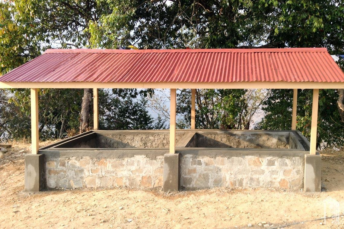 Unser neues Wurmkompostgebäude, in dem wir unsere Küchen- und Gartenreste für die Kompostierung unterbringen.