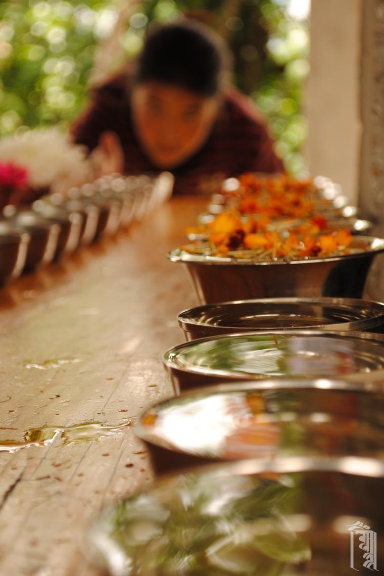 Ein Schüler des Jhamtse Gatsal bereitet sich auf eine gemeinschaftliche Gebetsveranstaltung vor, indem er Schalen mit Wasser aufstellt.